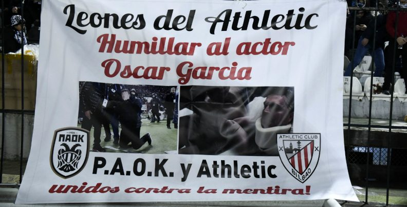 ΠΑΟΚτσήδικο πανό κατά Γκαρθία στο Μπιλμπάο
